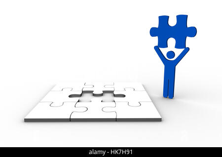 Blue human figure holding jigsaw piece next to unfinished puzzle on white background - Stock Photo