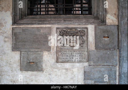 Secret anonymous denunciation letterbox, Doges Palace, Venice, Italy. - Stock Photo