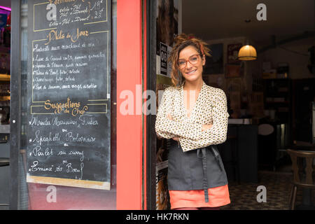 Entrepreneur and owner of a cafe in Paris Stock Photo
