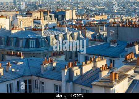 View of Paris from Montmartre rooftop - Stock Photo