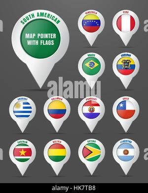 Set the pointer to the map with the flag of South American countries, and their names. Vector illustration - Stock Photo