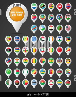 Set the pointer to the map with the flag of the countries of Africa and their names. Vector illustration - Stock Photo