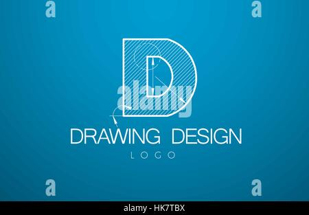 Logo Template Letter D In The Style Of A Technical Drawing Sign Design And