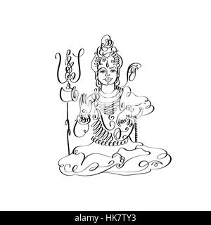 A black and white illustration of Lord Shiva in a warlike pose