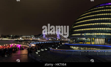 A night photograph of around city hall - Stock Photo