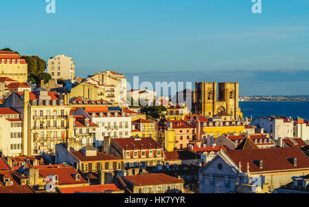 Cityscape with Patriarchal Cathedral of St. Mary Major, viewed from Miradouro de Santa Justa, Lisbon, Portugal - Stock Photo