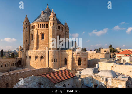 Old Church of Dormition at Sunset. Jerusalem, Israel - Stock Photo