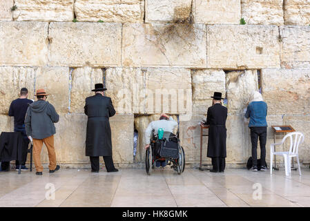 The Western wall on the Temple Mount, Jerusalem Old City, Israel - Stock Photo