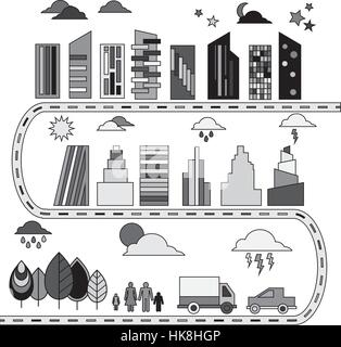 Different Elements for city illustration Buildings, transport. trees icons. Vector illustration - Stock Photo