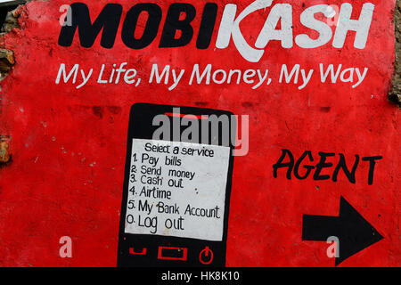 KENYA, County Siaya, village Kotanega, pay by mobile phone, ad Mobicash / KENIA, County Siaya, Dorf Kotanega, bezahlen per Mobiltelefon, MOBICASH