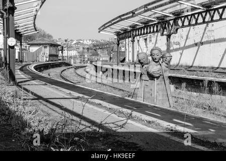 A disused railway station waiting to be demolished in the seaside resort of Folkestone, Kent. - Stock Photo