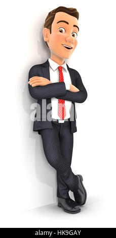 3d businessman standing against wall, illustration with isolated white background - Stock Photo