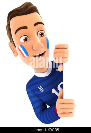3d french soccer fan peeping over blank wall, illustration with isolated white background - Stock Photo