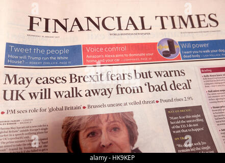 'Financial Times'  Theresa May  newspaper headline 'May eases Brexit fears but warns UK will walk away from 'bad - Stock Photo