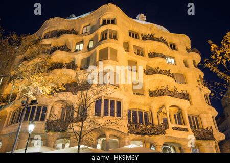 Gaudi's Casa Mila aka La Pedrera in Barcelona, Spain.