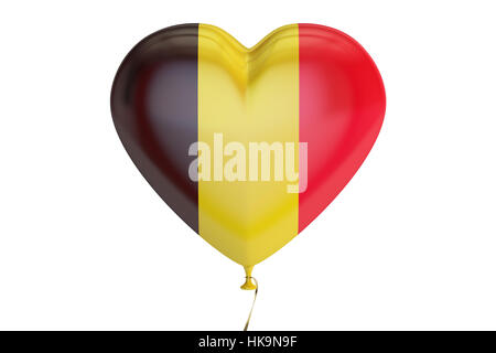 balloon with Belgium flag in the shape of heart, 3D rendering - Stock Photo