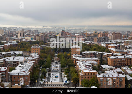 Yerevan, capital of Armenia, in winter - Stock Photo
