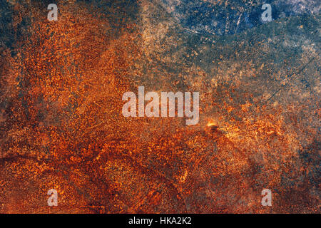 Corroded industrial background, rusty metal plate surface texture, top view - Stock Photo
