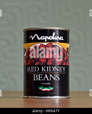 Can of Napolina Red Kidney Beans in Water. - Stock Photo