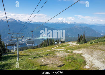 The town of Whistler British Columbia can be seen in the valley below from the chair lift on Blackcomb Mountain. - Stock Photo