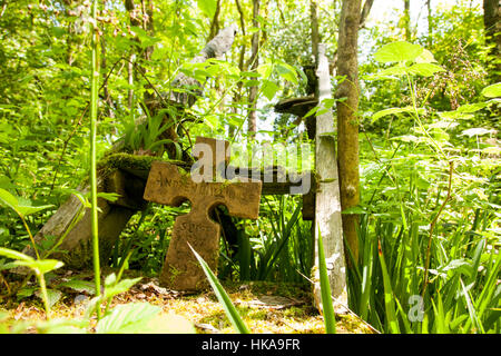 Bilston Glen Woodland. Memory of a burned man from South Afrika, the campdweller, eco warrior. In memory of Andrew - Stock Photo