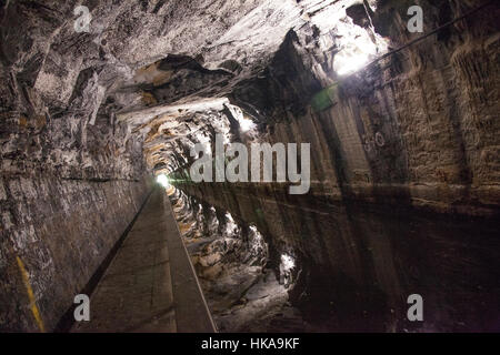 Tunnel on the Union Canal. Carved into rock. - Stock Photo