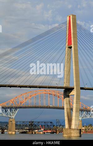 Skytrain Bridge, New Westminster, Vancouver Region, British Columbia, Canada - Stock Photo