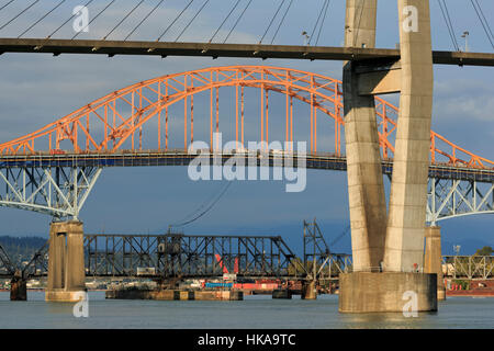 Skytrain Bridge, New Westminster, Vancouver Region, British Columbia, Canada - Stock Photo