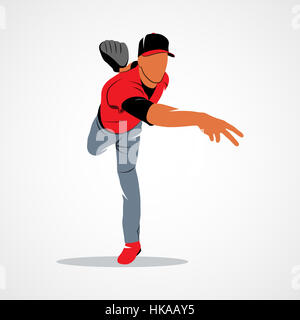 Baseball player on a white background. Photo illustration. - Stock Photo