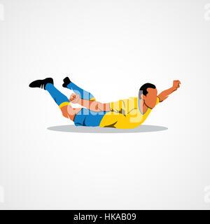 Soccer player celebrating on a white background. Photo illustration. - Stock Photo
