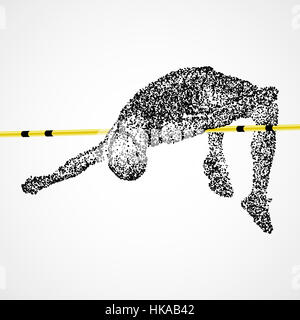 Abstract The athlete jumps in height of the black circles. Photo illustration. - Stock Photo