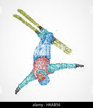Abstract skier jumping out colored circles. Photo illustration. - Stock Photo