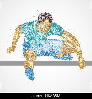 Abstract athlete jumping over the barrier. Photo illustration. - Stock Photo