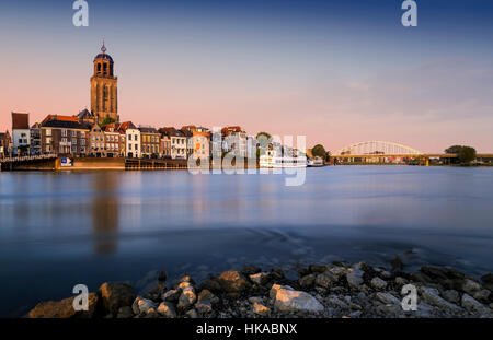 The Dutch city of Deventer on the River IJssel - Stock Photo