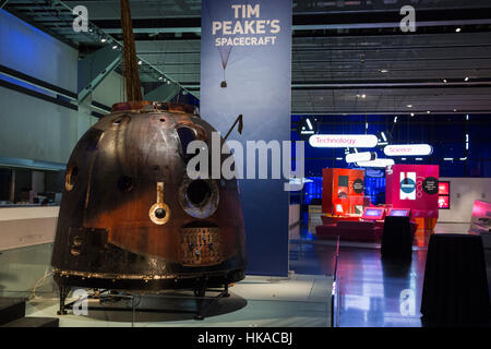 London, UK. 26 January 2017. The Science Museum unveils the Soyuz TMA-19M descent module, the spacecraft which carried - Stock Photo