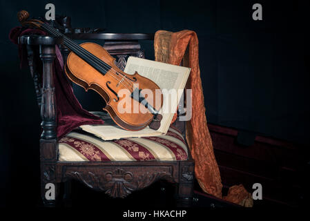 Still life with a music instrument, an cremonese violin by violin maker luthier Pablo Farias. - Stock Photo