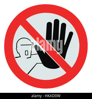 No access for unauthorized persons warning sign label, isolated macro closeup - Stock Photo