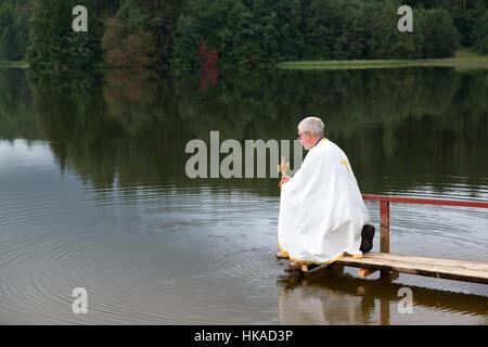 Ceremony before Transfiguration Day of Seto people, Obinitsa, Estonia - Stock Photo