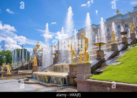 Grand Cascade in Peterhof. St Petersburg, Russia - Stock Photo
