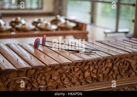 Saron, a gamelan music instrument, a traditional music in Bali and Jawa. - Stock Photo