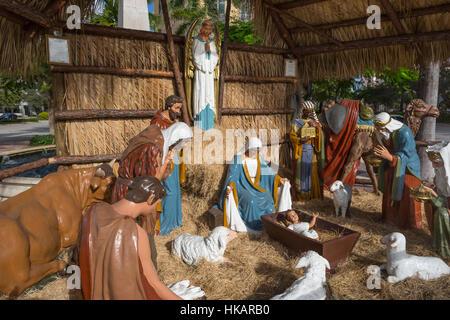 OUTDOOR LIFE SIZE CHRISTMAS NATIVITY SCENE CORAL GABLES FLORIDA USA - Stock Photo