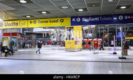 Naples, Italy - January 15, 2017: Naples Garibaldi train station, indoor area with ticket machines - Stock Photo
