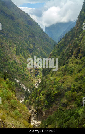 Winding Road from Tibet to Nepal. - Stock Photo