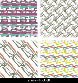 Abstract seamless pattern with lines and stripes in variety of colors. Modern repeating background vector texture. - Stock Photo