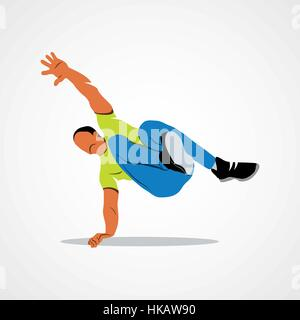 Abstract man jumping outdoor parkour on a white background. Vector illustration. - Stock Photo