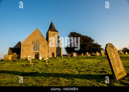 St Clement church in Old Romney, Kent, dating back to the twelfth century - Stock Photo