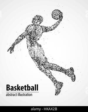 Abstract basketball player in jump from the black circles. Vector illustration. - Stock Photo