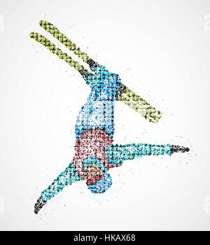 Abstract skier jumping out colored circles. Vector illustration. - Stock Photo