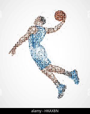 Abstract basketball player in jump of multicolored circles. Vector illustration. - Stock Photo