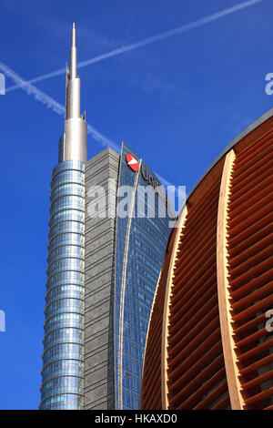 Italy, City of Milan, Porta Nuova, Bank of Unicredit Bank and pavilion, Auditorium at the Piazza Gae Aulenti - Stock Photo